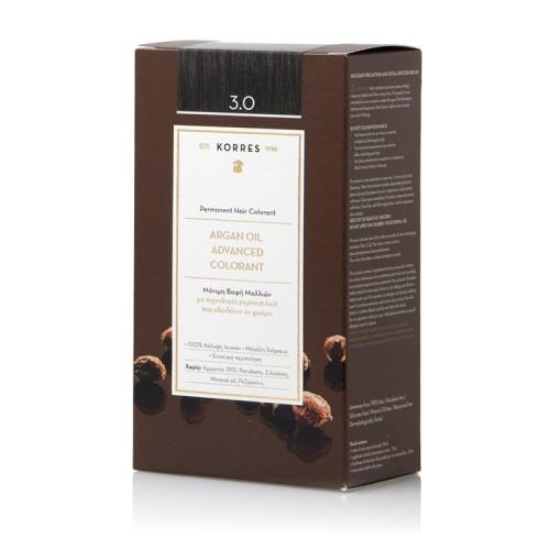 Korres Argan oil advanced colorant Μόνιμη Βαφή - 3.0 Καστανό Σκούρο - 50ml