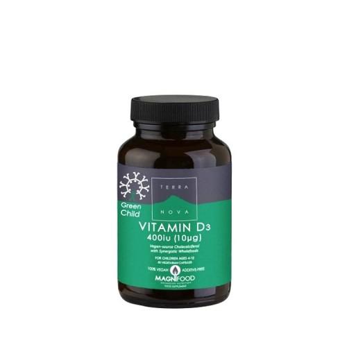 Terranova Green Child Vitamin D3 400 iu 50 κάψουλες