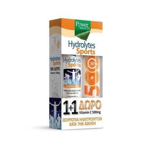 POWER HEALTH Hydrolytes Sports με Γεύση Λεμόνι - 20 αναβρ. δισκία & ΔΩΡΟ Βιταμίνη C 500mg - 20 αναβρ. δισκία