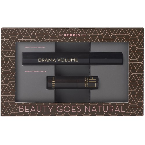 Korres Set Drama Volume Mascara 01 Black - 11ml & Korres Morello Creamy Lipstick 23 Natural Purple - 3.5gr