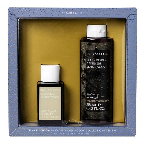 Korres Set Eau de Toilette Black Pepper, Cashmere & Lemonwood - 50ml & Αφρόλουτρο Black Pepper, Cashmere & Lemonwood - 250ml