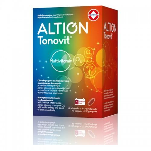 Altion Tonovit Πολυβιταμίνη με Ω-3 Λιπαρά Οξέα και Q10, Χωρίς Ιώδιο - 40 Μαλακές Κάψουλες