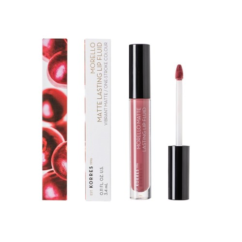 Korres Morello Matte Lasting Lip Fluid 10 Damask Rose, Υγρό κραγιόν - 3.4ml