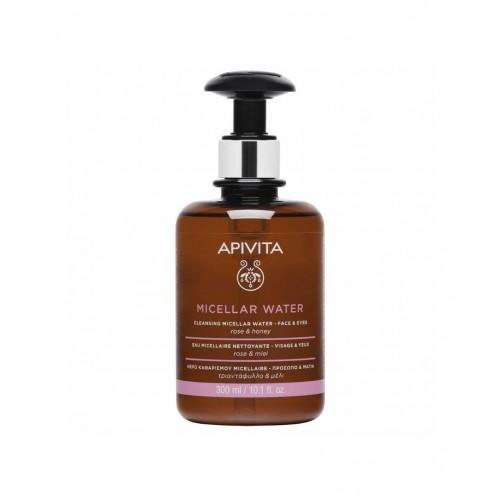 Apivita Cleansing Micellar Water, Νερό Καθαρισμού Micellar για Πρόσωπο & Μάτια, με Τριαντάφυλλο & Μέλι - 300ml