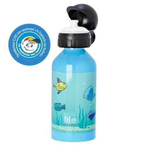 Ecolife Μεταλλικό Ανοξείδωτο INOX Μπουκάλι 400ml, Χρώμα: Fish, 1 τεμάχιο