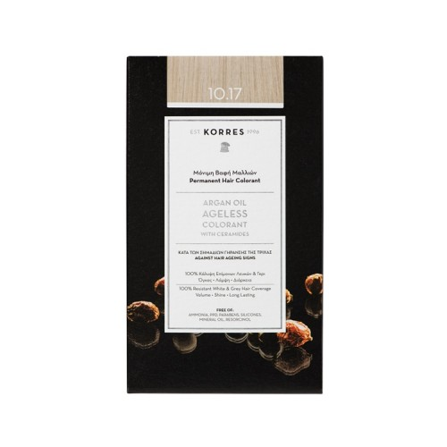 Korres Argan Oil Ageless Colorant Μόνιμη Βαφή Μαλλιών κατά των Σημαδιών Γήρανσης της Τρίχας - Νο.10.17 Ξανθό Πλατίνας Μπεζ, 50ml