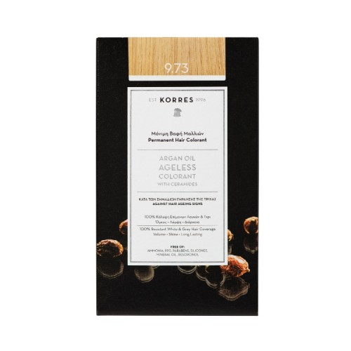 Korres Argan Oil Ageless Colorant Μόνιμη Βαφή Μαλλιών κατά των Σημαδιών Γήρανσης της Τρίχας - Νο.9.73 Χρυσό Κάστανο, 50ml